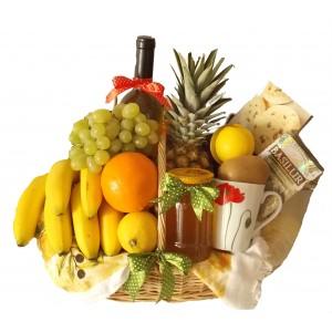 Cos cadou cu fructe exotice si miere