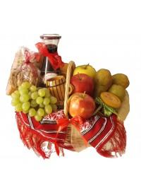 Cos rustic cu fructe si vin