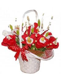 Cosulet cu flori rosii