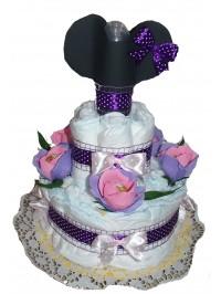 Tortulet din scutece Minnie lila