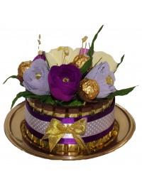 Tortulet din ciocolata cu flori